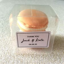50x Clear PVC Wedding Favor Gift Boxes Personalised Thank You Gift Sticker Label