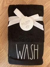 "Rae Dunn Black ""WASH"" Hand Towels LL - Set of 2 - NEW"