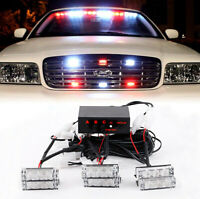 Car White Red 6 LED Flashing Grill Strobe Lights Bar Warning Recovery Breakdown
