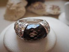 Judith Ripka Sterling Silver Faceted Smoky Quartz Diamonique Ring   503C