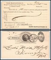 1887 Postal Card - Nason Mfg Co, Iron Pipe, New York, NY to Irvington, NY K16