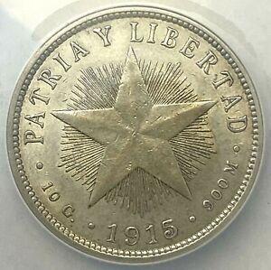 CARIBEE - 40 Centavos 1915 - 0.900 Silver - AU 50