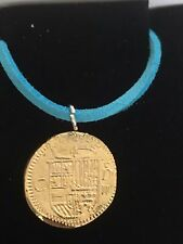"Gold Doubloon Coin WC36 Gold In Fine English Pewter On a 18"" Blue Cord Necklace"