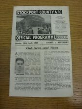 26/04/1948 Stockport County v Southport [Division 3 North] (folded). Any faults