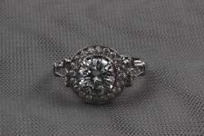 140 CT White Round Solitaire Studded  925 Sterling Silver Ring Fine Jewelry