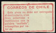 CHILE 1908 POSTAGE DUE OFFICIAL ADHESIVE LABEL STAMP MULTA MH scarce item!!