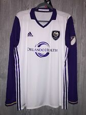 ADIDAS MLS Orlando City SC Authentic White Home L/S Soccer Jersey Mens S M L 2XL