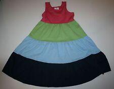 NUEVO Hanna ANDERSSON Rosa Verde Azul Color De Contraste Vestido Talla 130cm or