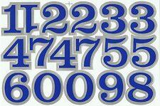 PLANCHE A4 TUNING QUAD 17 AUTOCOLLANT CHIFFRE BLEU ET GRIS METAL 5,5 X 4 CMS