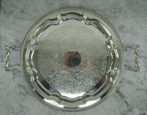 """Vintage Sheets Rockford S Co. Double Handled Silver Plate Embossed Tray 16-3/4"""""""