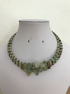 Prehnite Nugget, Green Jade & Green Opal Bead Three Strand Memory Wire Necklace
