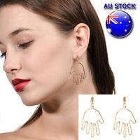 Fashion 18K Gold Plated Big Hand Dangly Drop Polished Earrings