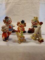 Vintage Bisque Porcelain Ceramic Clown Figurines Lot Of 6
