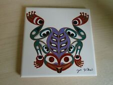 More details for joe wilson signed hand decorated stylized frog decorative tile fabulous & unusua