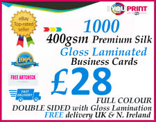 1000 GLOSS LAMINATED Business Card - 400gsm Premium Silk Artboard - DOUBLE SIDED