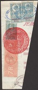 India 1908 Revenue Special Adhesive 7r, 8a + GB Foreign Bill 10sh, 15sh Used