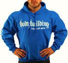 BODYBUILDING CLOTHING HOODIE WORKOUT TOP ROYAL BLUE IRON & PAIN LOGO G-67