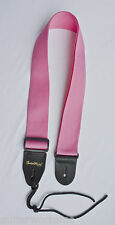 Guitar Strap PINK NYLON Leather Ends Fits  All Acoustic & Electric Made In USA