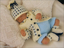 Baby Knitting Pattern DK 15 TO KNIT Jacket, Hat, Trousers & Bootees Reborn Dolls