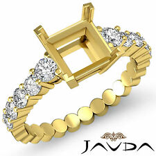 Diamond Engagement Princess Semi Mount Shared Prong Ring 14k Yellow Gold 0.70Ct