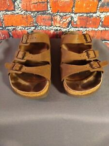GUC women's BIRKENSTOCK / BIRKI'S brown 3 strap SANDALS  - SIZE 39