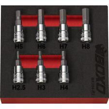"""1/4"""" Drive Hex Bit Socket Set 2.5-8mm 7 Pieces in a Foam Tray"""