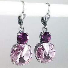 Grevenkämper Ohrringe Swarovski Kristall Silber Rund lila violett Light Amethyst