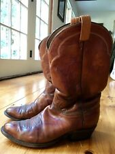 VINTAGE Rich Brown Tony Lama Western Brown Leather Cowboy Boots Mens Size 9
