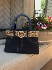 Blue Jean Purse Handbag Leopard Print Animal Print Belt