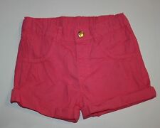 Nuevo H&M Rosa Brillante Enrollado Vuelta Pantalones Cortos Talla Pequeña 6 7