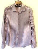 Sean John Tailored Fit Mens Button-Front Dress Shirt L/S Purple Stripe Sz Medium