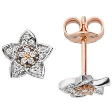 92e201684dc8 Pendientes Flores con 40 Diamantes Brillantes Oro 585 Rojo Blanco Bicolor