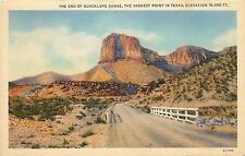 Linen Postcard; End of Guadalupe Mt. Range, Highest Point in Texas TX Posted