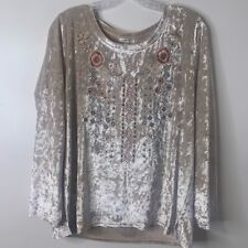 Jodifl Women's Velvet Blouse With Floral Embroidery Size Large