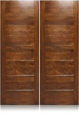 """Cooper Design 72""""x80"""" Exterior Unfinished Modern Mahogany Double Pre-Hung Doors"""
