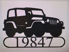 House Number Plaque, Metal Sign, Condo, Address Sign, JEEP