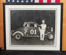Vintage 1950s Auto Racing Track Photograph Whites Texaco Tommy Campbell 16x20 #1