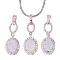 White Fire Opal Zircon Women Jewelry Pendant Earrings Necklace Jewelry Set OT117
