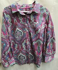 TALBOTS XP womens X petite pink blue white multi colored printed long sleeve but
