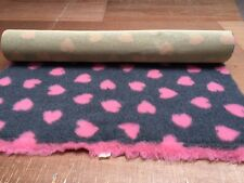 NON SLIP BEDDING GREY WITH PINK HEARTS  1M X 1.52M