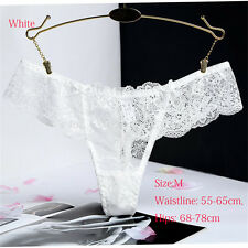G String Thongs Ultra Thin Lace Panties Briefs Knickers Intimates Lingerie White M