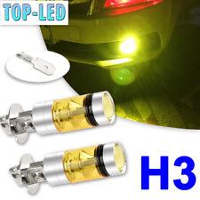 H3 3000K Yellow LED Fog Driving Lights Bulbs Kit Headlight Lamp 100W High Power