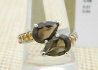 Smokey Quartz Citrine Sterling Silver Ring TGGC Size 8