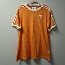 Adidas Womens 3 Stripes T-Shirt Short Sleeve Top Orange Tshirt Size UK XL (EU20)