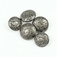 12PCS New Flower Carving Antique Metal Round Coat Shank Buttons 15 20 23mm