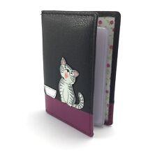 BLACK Leather Credit Debit Card ID Bus Pass Holder Ziggy Cat Kitten MALA 629 99