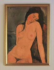 Amedeo Modigliani Sitzender Akt um 1916 Büttenfaksimile 30x42cm 2 im Goldrahmen