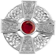 Celta Plata De Ley Cruz y Thistle Broche con rubí Color Piedra