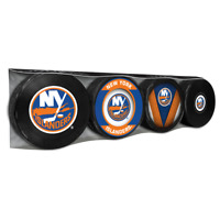 New York Islanders Collectors Package of (4) NHL Team Logo Souvenir Hockey Pucks
