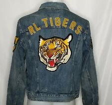 Polo Ralph Lauren Men's Varsity Tigers Football Letterman Patch Denim Jacket 2xl